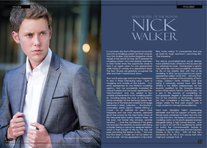 Starcentral Magazine Hottest Male Model of the Month- Nick William Walker