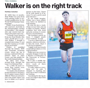 Nick William Walker on his way to Hawaii in December to compete in the world trail running champs.